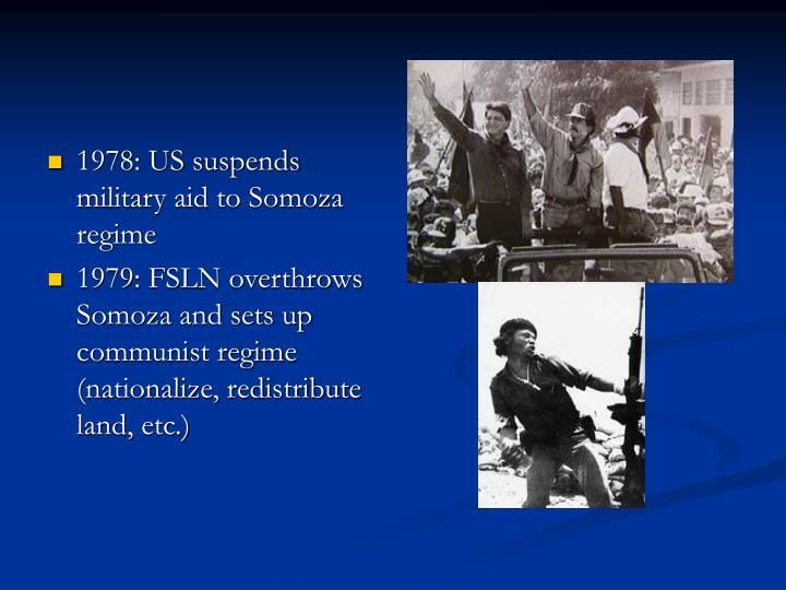 1978: US suspends military aid to Somoza regime