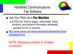 handheld communications fax software