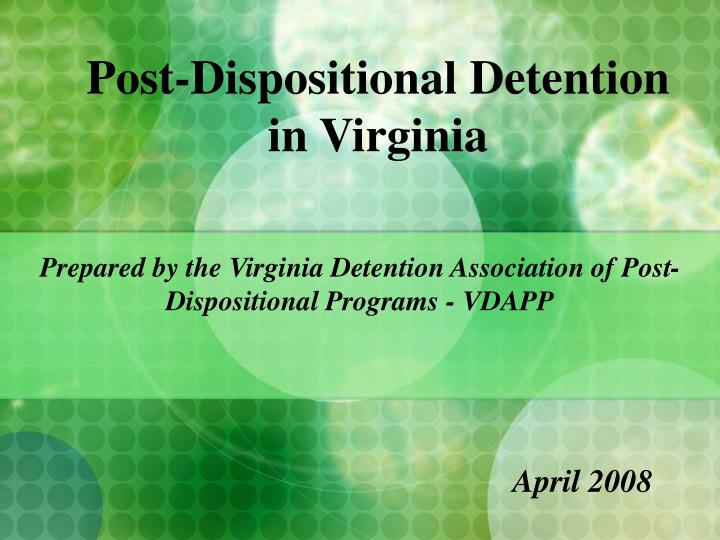 post dispositional detention in virginia n.