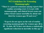 nci guidelines for screening mammography