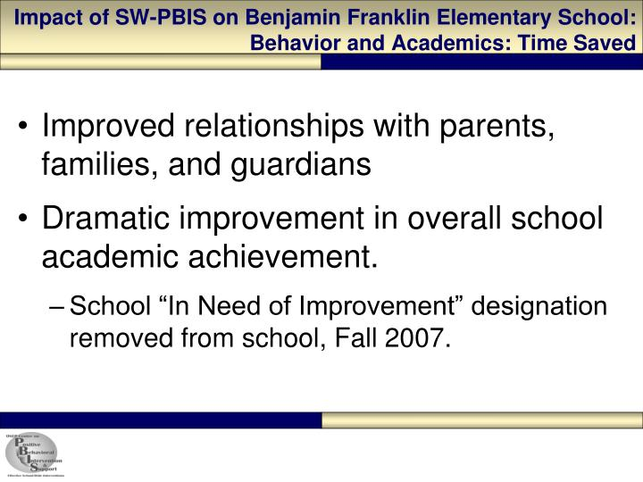 Impact of SW-PBIS on Benjamin Franklin Elementary School: Behavior and Academics: Time Saved
