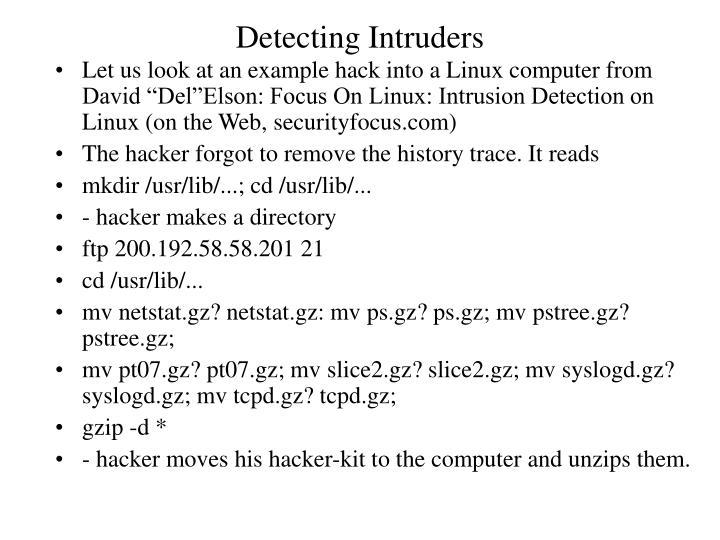 Detecting Intruders