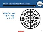 ohm s law relates these terms