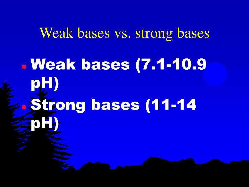 Weak bases vs. strong bases