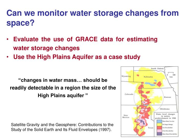 Evaluate the use of GRACE data for estimating water storage changes