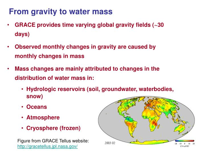 From gravity to water mass