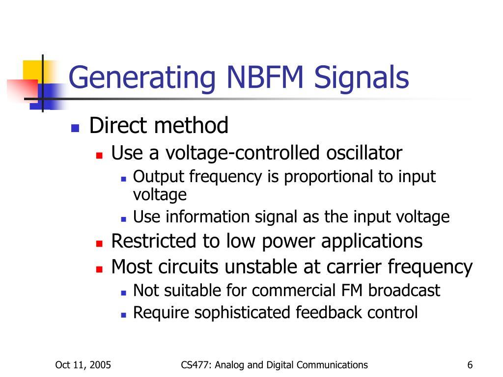 Generating NBFM Signals