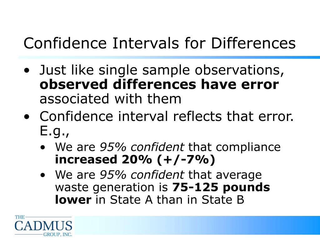 Confidence Intervals for Differences