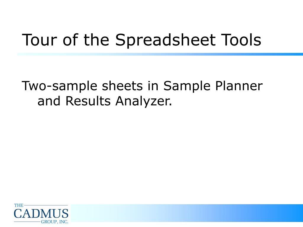 Tour of the Spreadsheet Tools