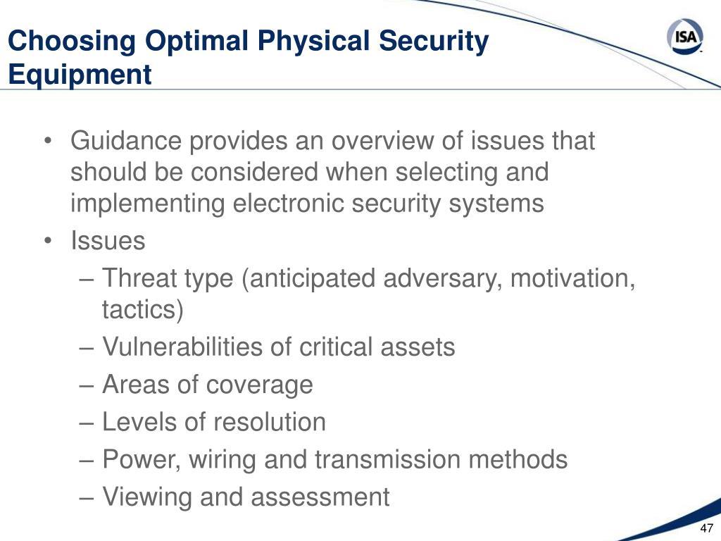 Choosing Optimal Physical Security Equipment