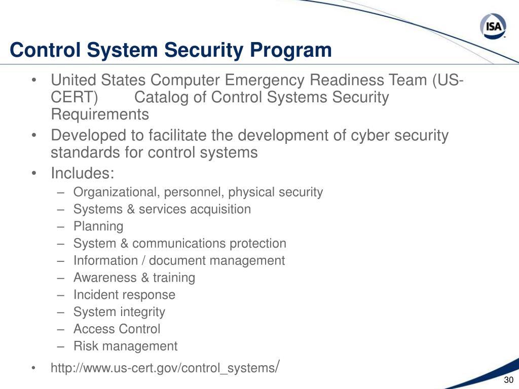 Control System Security Program