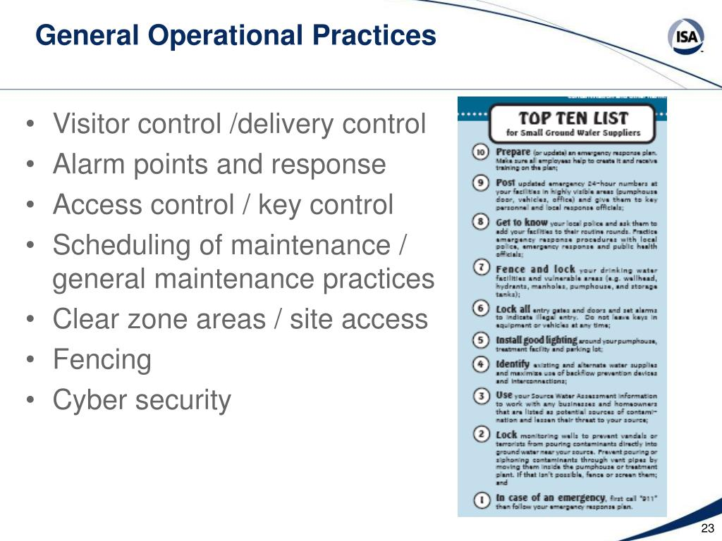 General Operational Practices