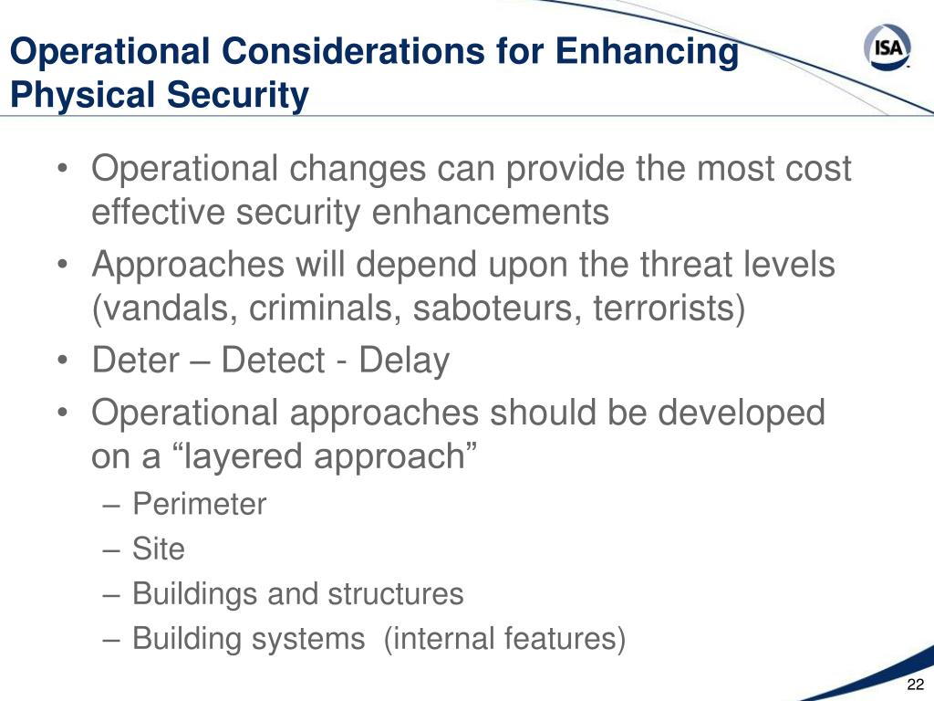 Operational Considerations for Enhancing Physical Security