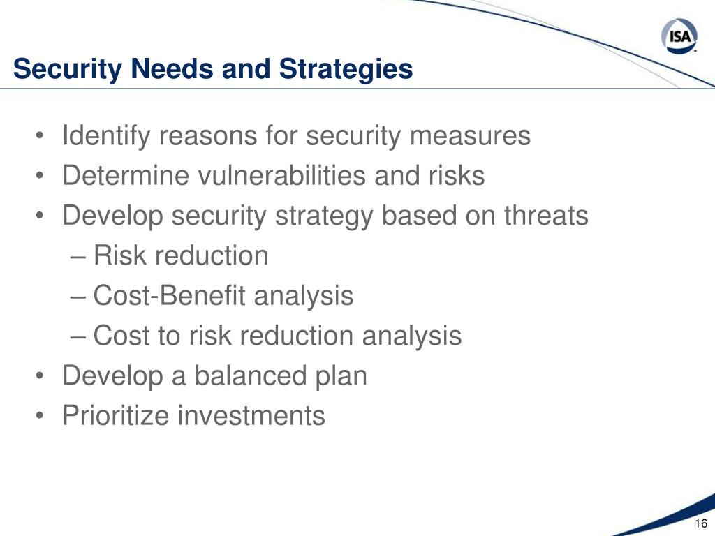 Security Needs and Strategies