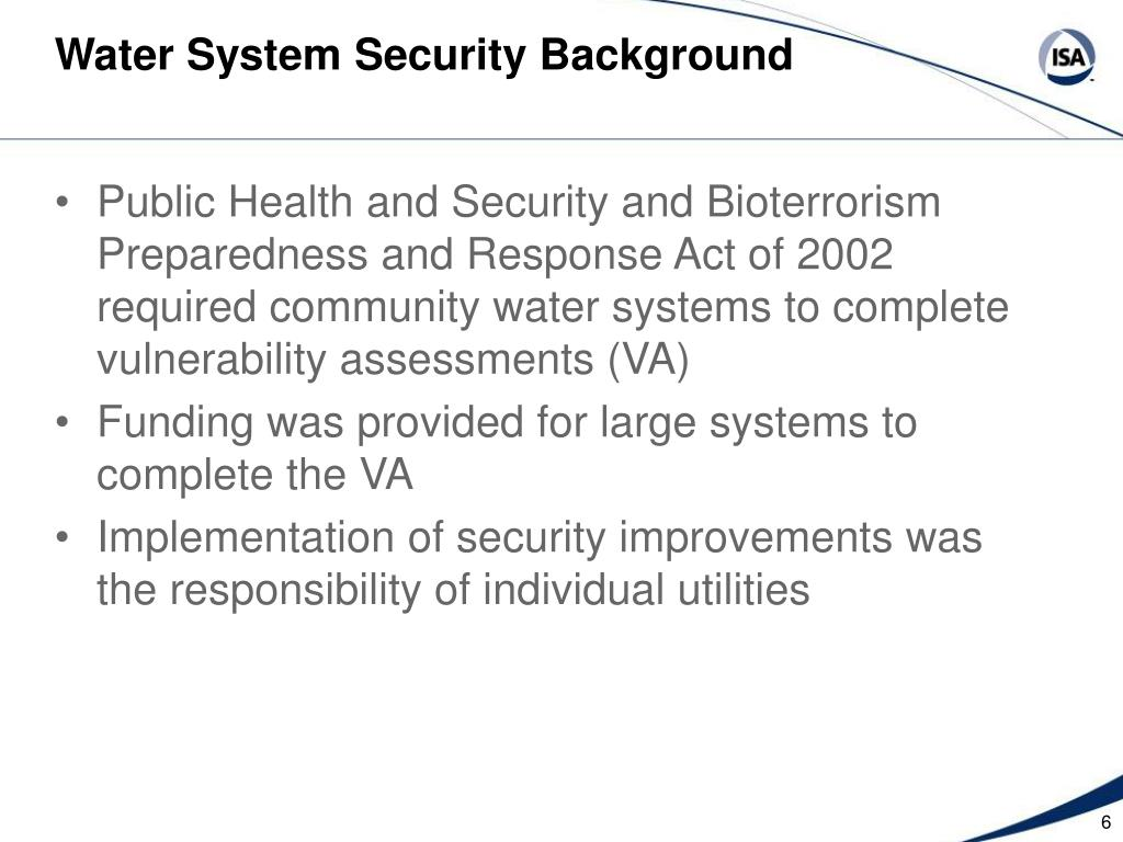 Water System Security Background