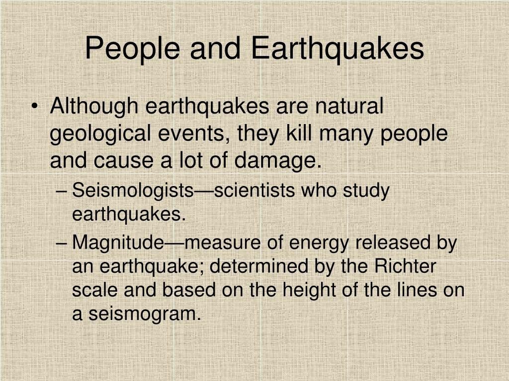 People and Earthquakes