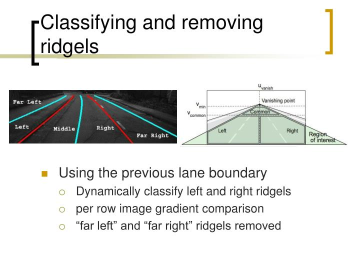 Classifying and removing ridgels