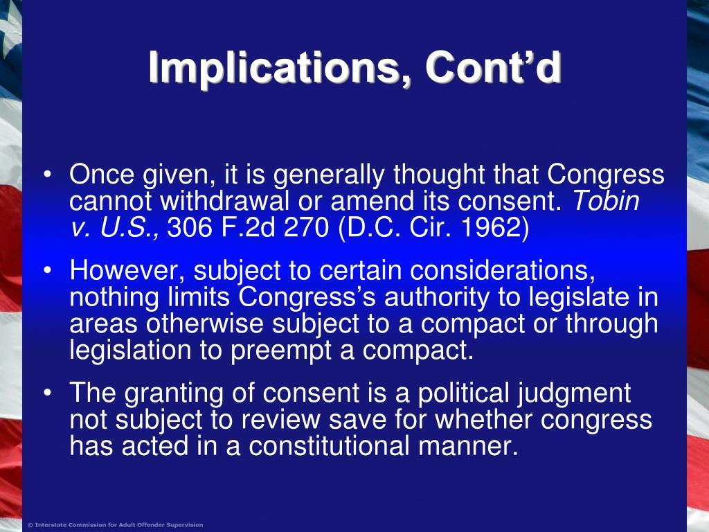 Implications, Cont'd