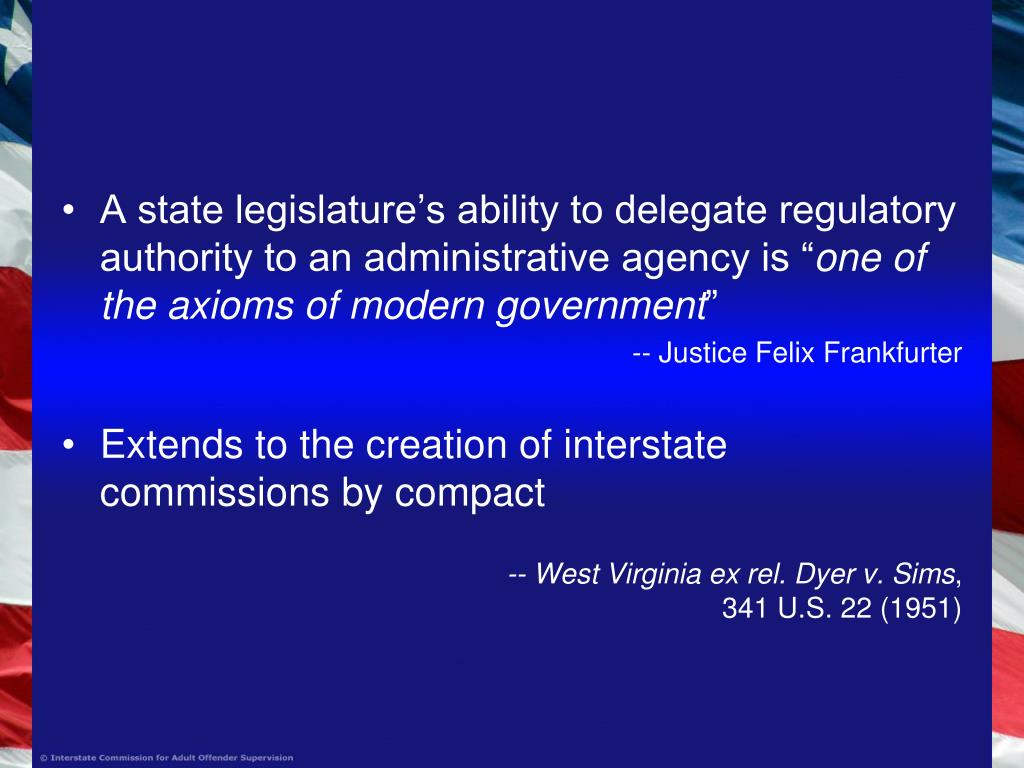 """A state legislature's ability to delegate regulatory authority to an administrative agency is """""""