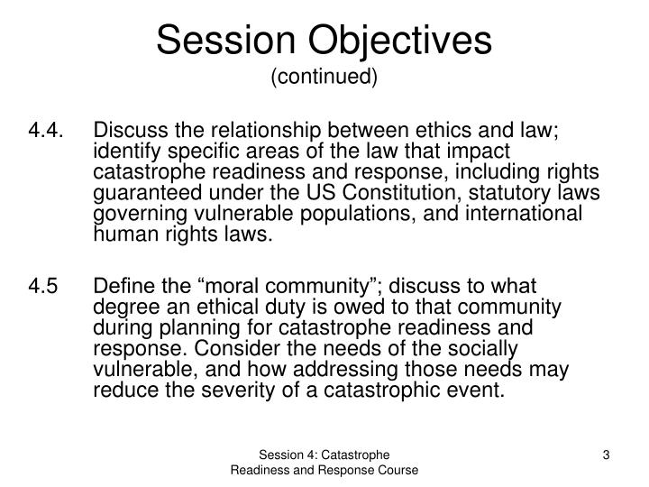 Session objectives continued