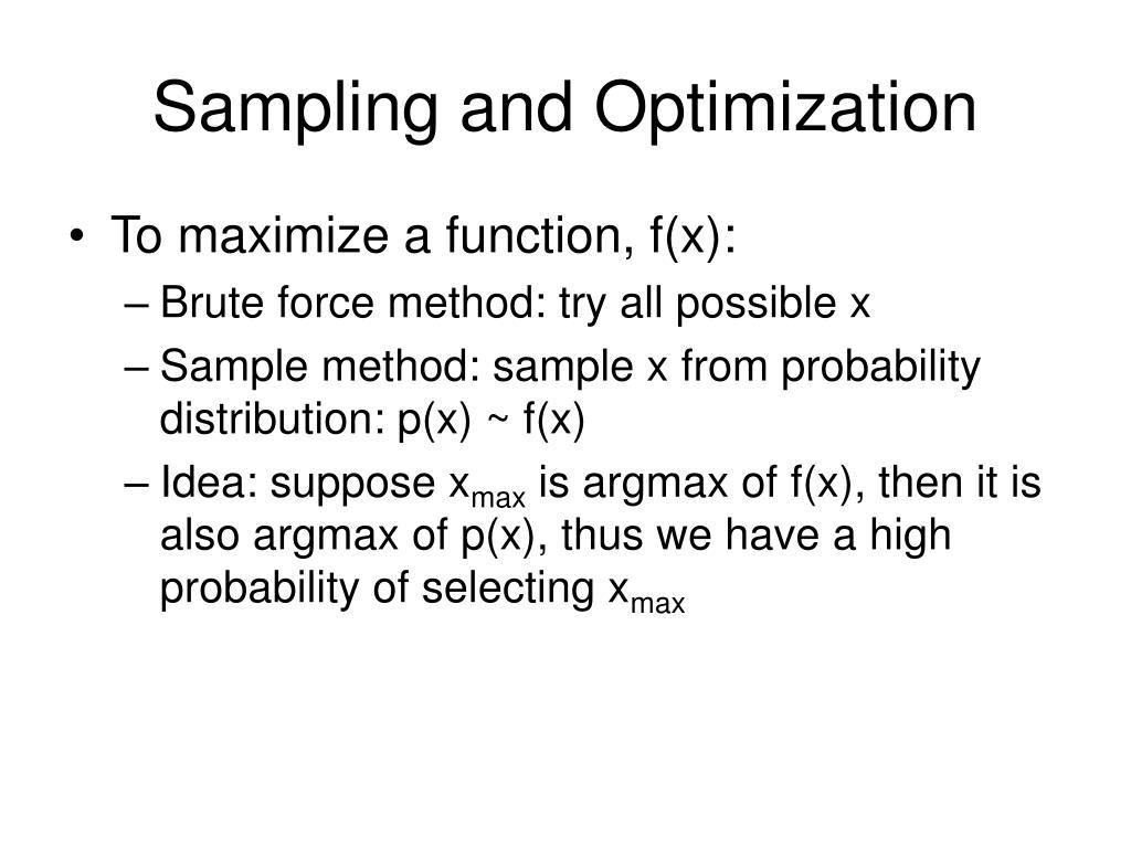 Sampling and Optimization