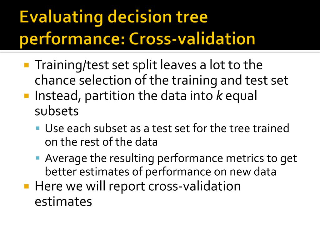 Evaluating decision tree performance: Cross-validation