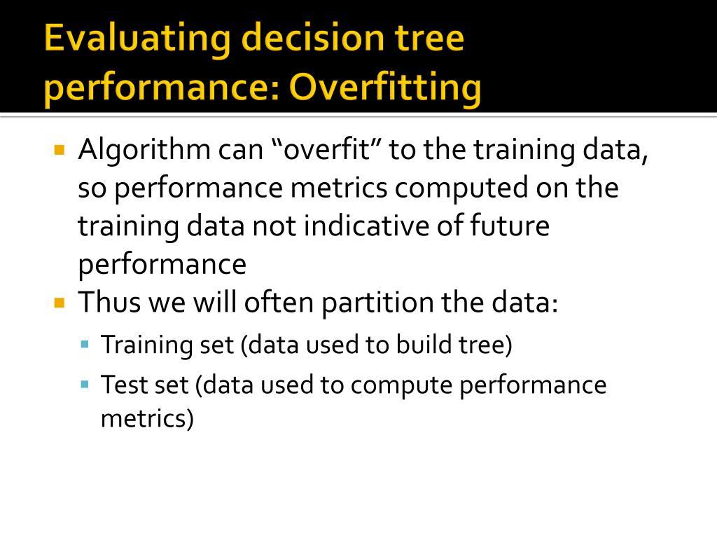 Evaluating decision tree performance: Overfitting
