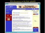 pda resources on the web pdamd