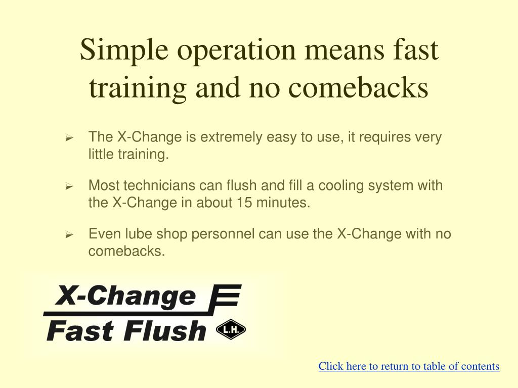 Simple operation means fast training and no comebacks