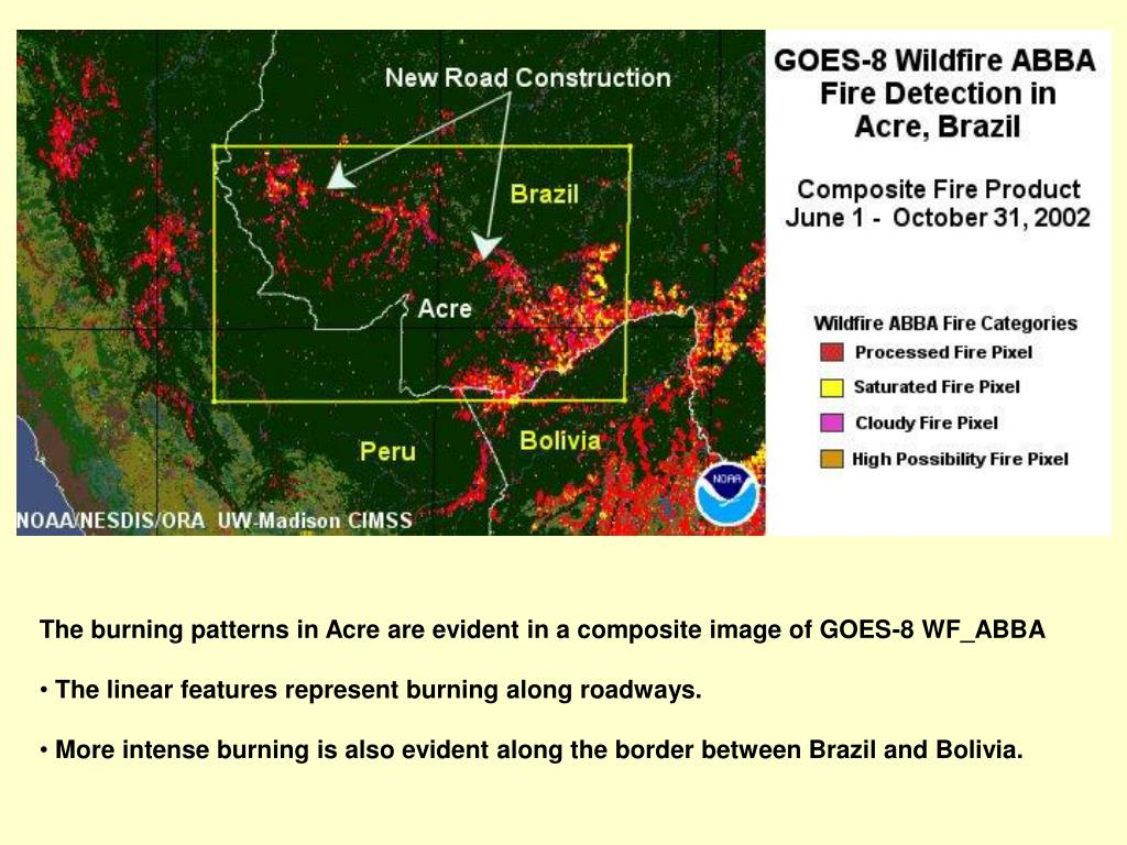 The burning patterns in Acre are evident in a composite image of GOES-8 WF_ABBA