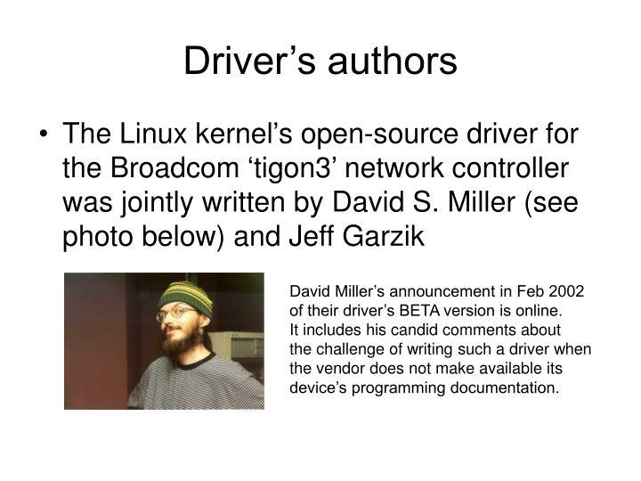 Driver's authors