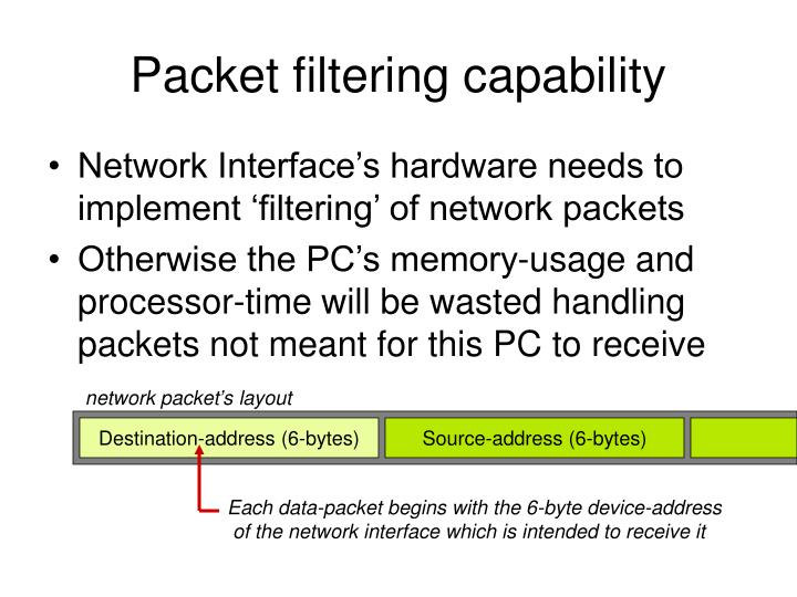 Packet filtering capability