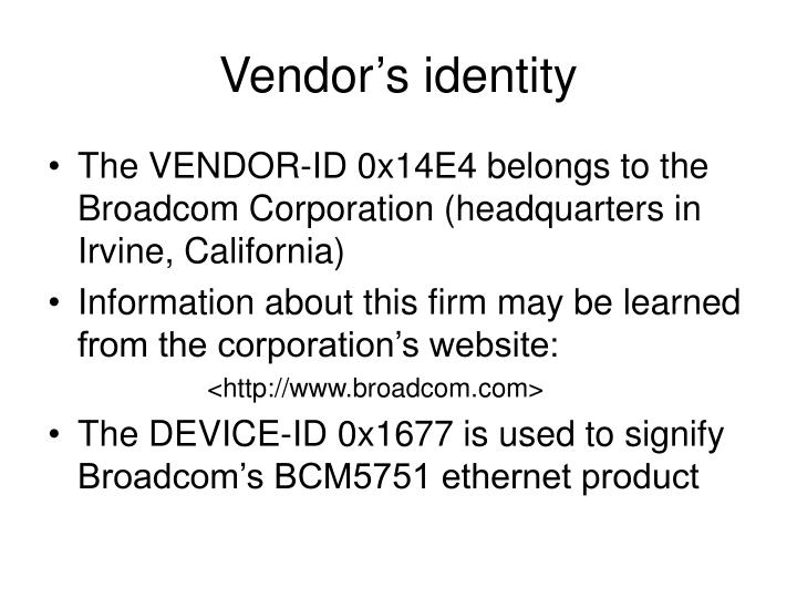 Vendor's identity