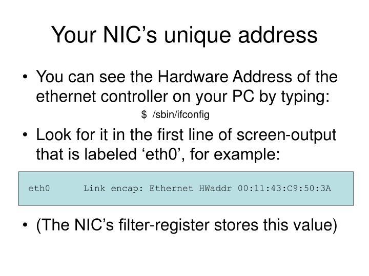 Your NIC's unique address