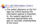 911 call information cont