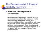 the developmental physical disability spectrum