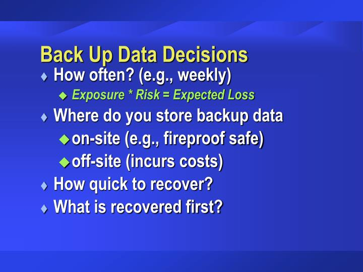 Back Up Data Decisions