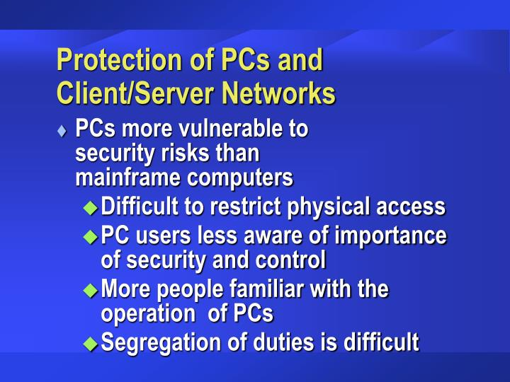 Protection of PCs and Client/Server Networks