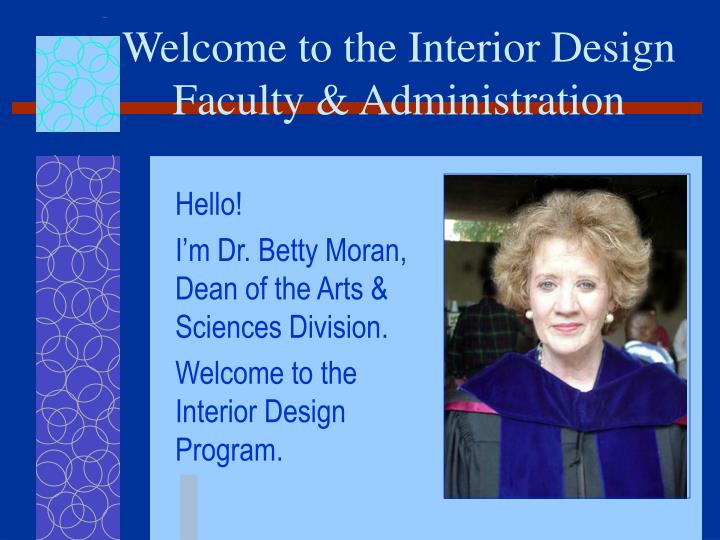welcome to the interior design faculty administration n.