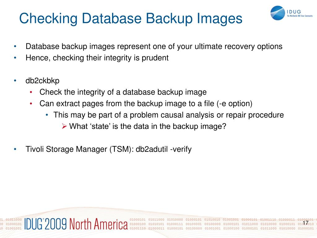 Database backup images represent one of your ultimate recovery options
