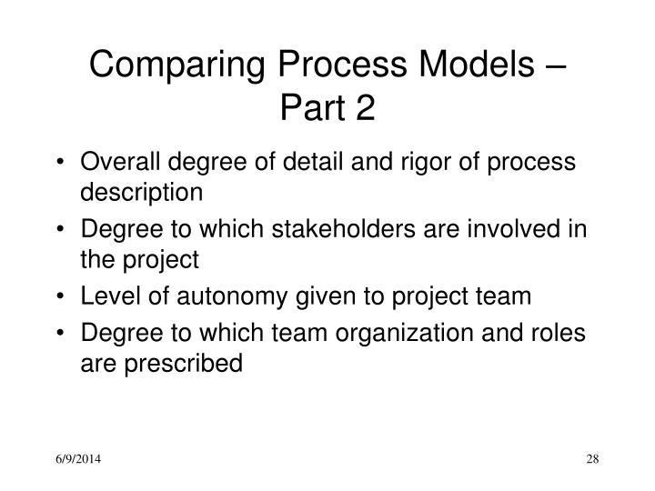 Comparing Process Models – Part 2
