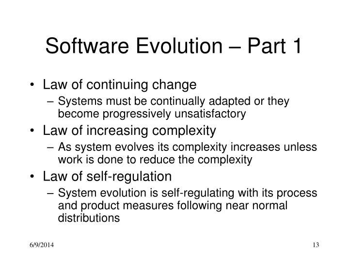Software Evolution – Part 1