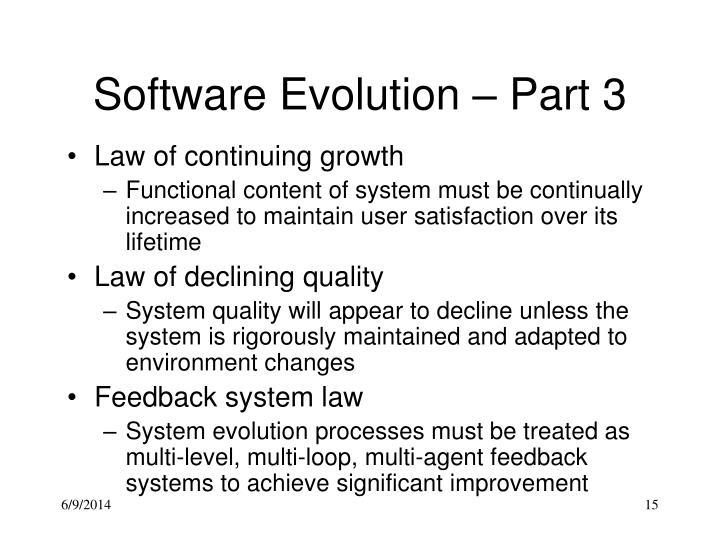 Software Evolution – Part 3