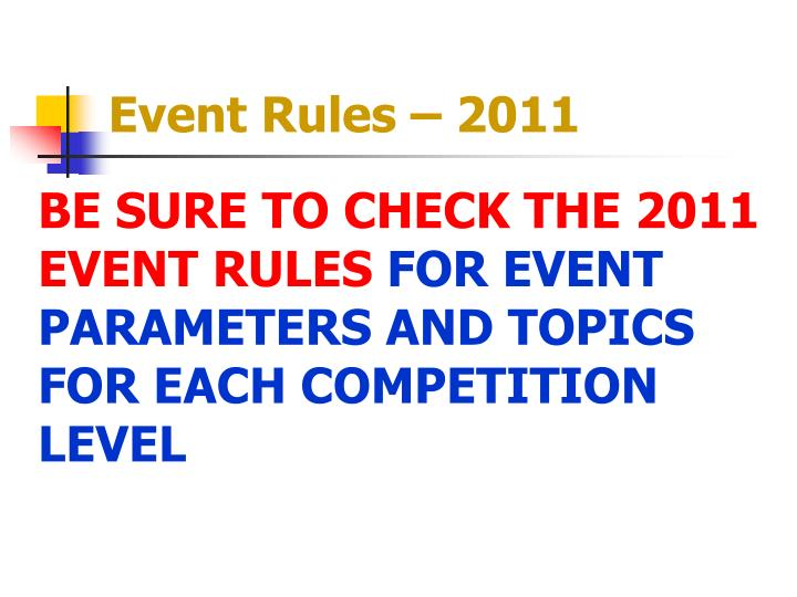 Event rules 20111