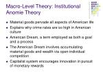 macro level theory institutional anomie theory