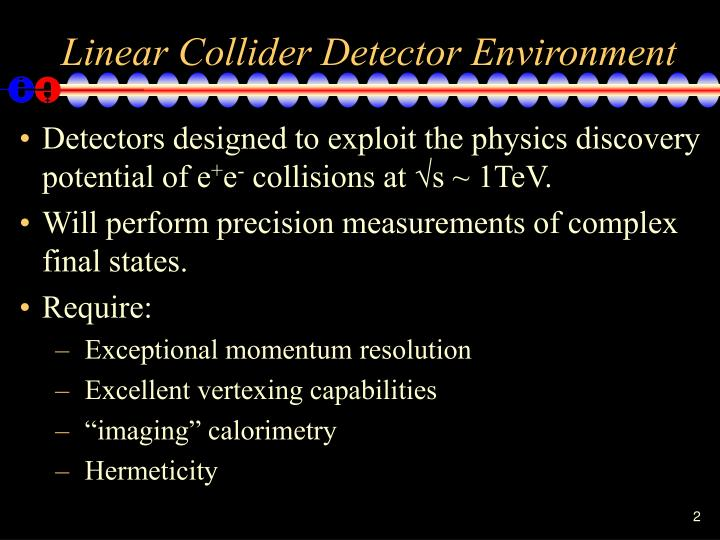 Linear collider detector environment
