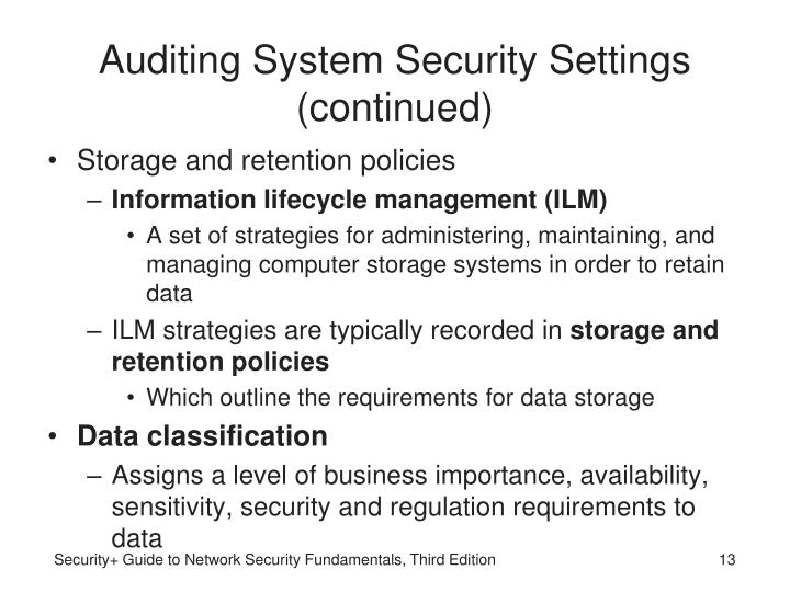 Auditing System Security Settings (continued)