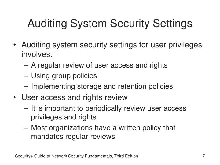 Auditing System Security Settings
