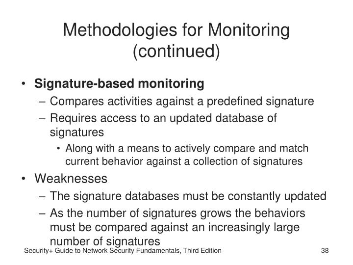 Methodologies for Monitoring (continued)