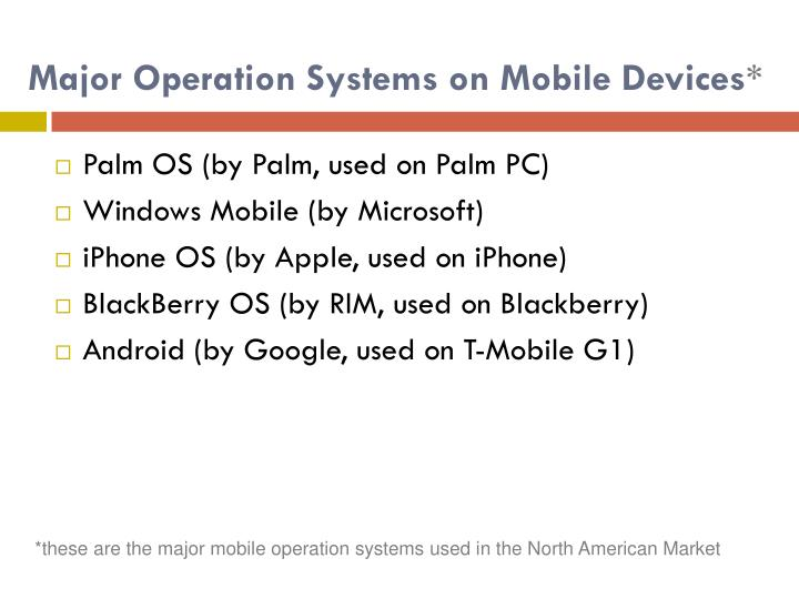 Major operation systems on mobile devices